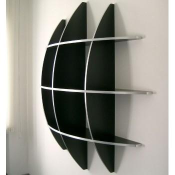 Libreria da parete sferica Guidus 170 in truciolare Bianco Nero Grigio