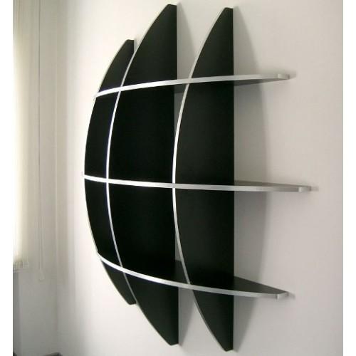 Libreria da parete sferica in truciolare Bianco Nero Grigio Guidus 170