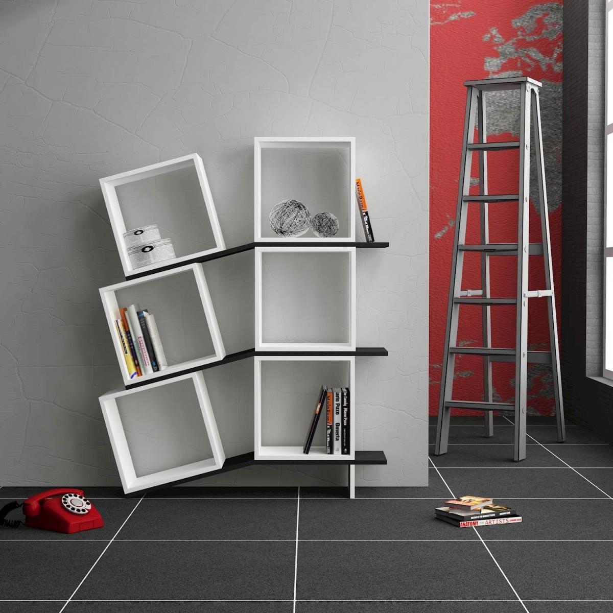 Sloping libreria da parete cubi e mensole in legno bianco for Cubi mensole