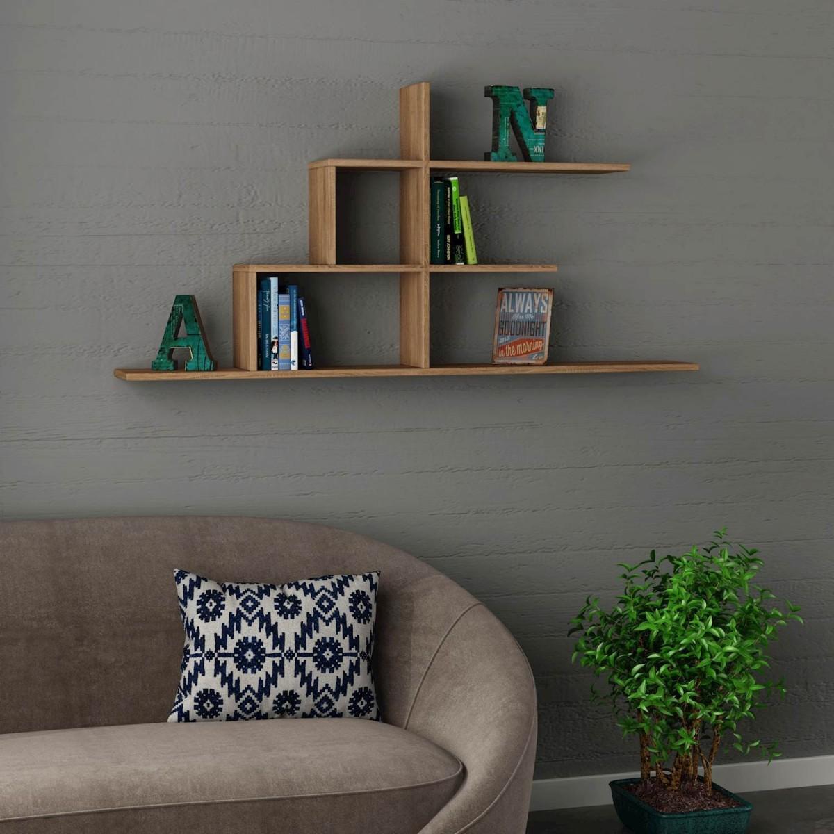 Akinori libreria sospesa da parete per soggiorno 150 x 75 cm - Libreria a parete sospesa ...