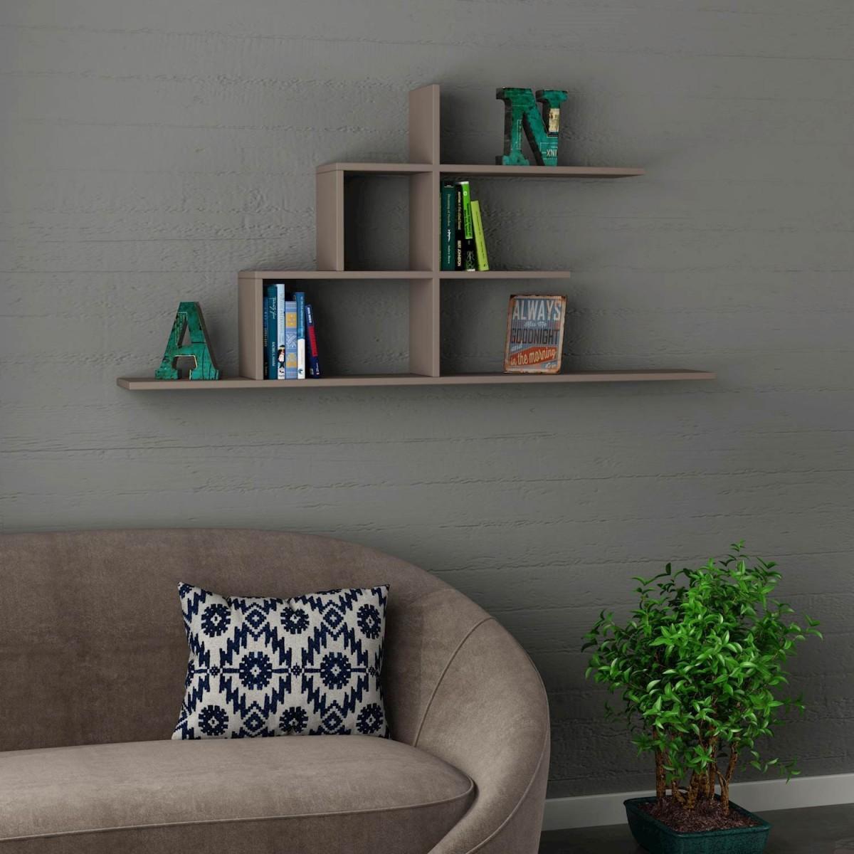 Akinori libreria sospesa da parete per soggiorno 150 x 75 cm for Parete da soggiorno