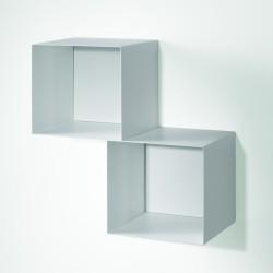 Mobili Cubi Componibili.Cubo Libreria Componibile Twin Sospesa A Parete In Acciaio