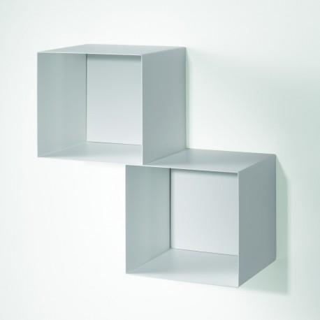 Cubo libreria componibile sospesa a parete in acciaio Twin