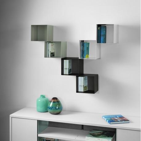 Cubo libreria 0/76 - TWIN sospesa a parete in acciaio 45x22x45