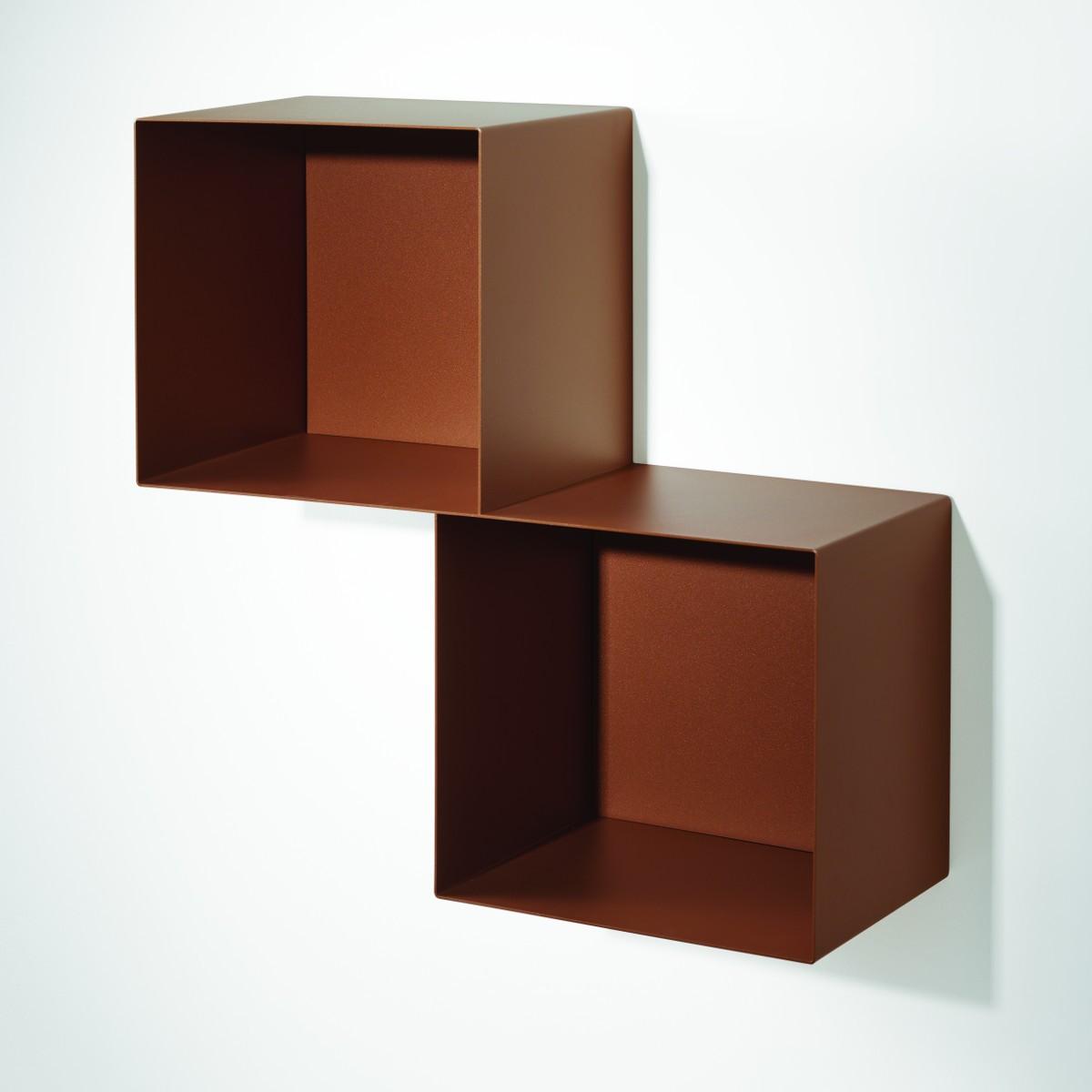 Mensole cubo da parete in acciaio design moderno twin - Mensole da parete design ...