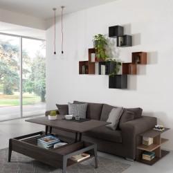 Composizione F cubo librerie in acciaio colorato a parete 0/76 + 0/77 - TWIN