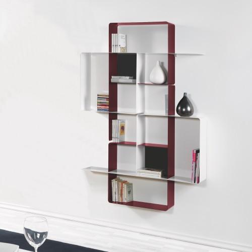 Libreria a muro in acciaio verniciato sabbiato Mondrian-4