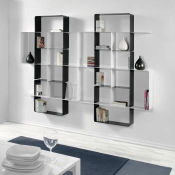 Scaffale a muro componibile in acciaio ardesia e bianco Mondrian-7