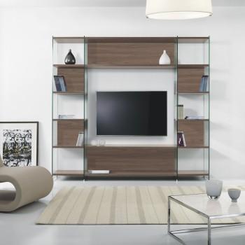 Byblos3 libreria da salotto porta TV in laminato e vetro 220 x 200 cm