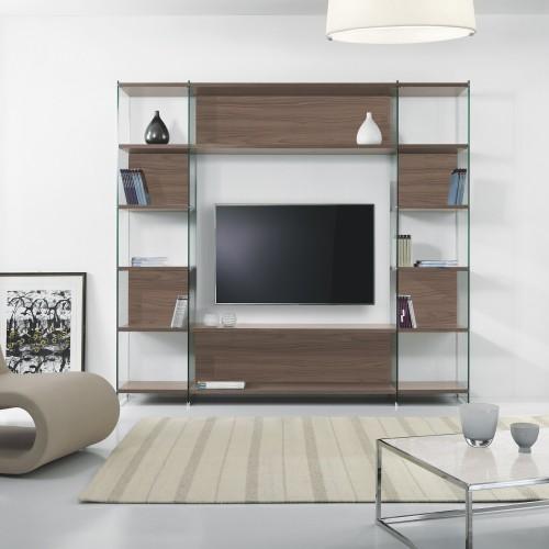 Libreria da salotto porta tv in laminato e vetro byblos3 for Libreria salotto
