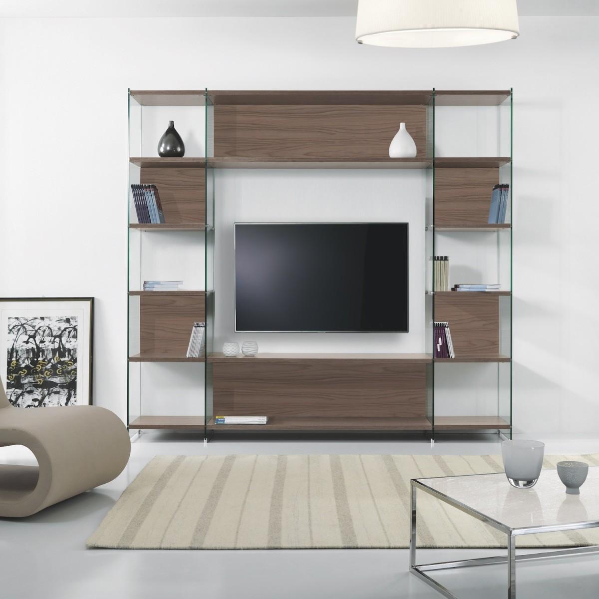 Byblos3 libreria da salotto porta tv in laminato e vetro for Libreria salotto