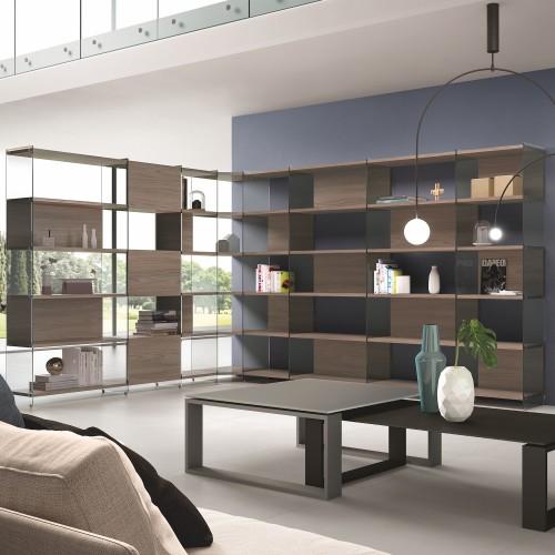 Libreria scaffale angolare da soggiorno design moderno byblos9 for Parete attrezzata design moderno