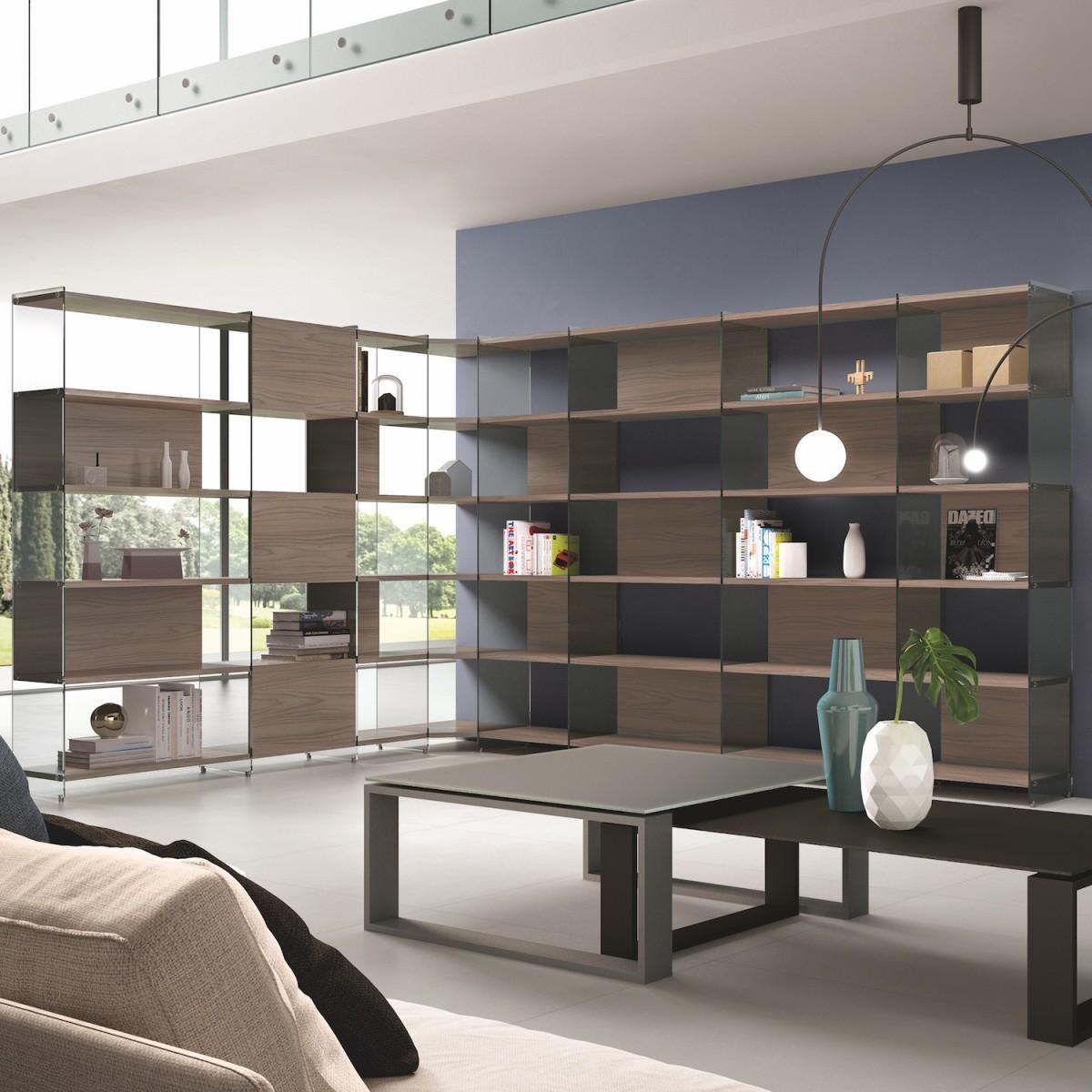 Libreria scaffale angolare da soggiorno design moderno byblos9 for Design moderno