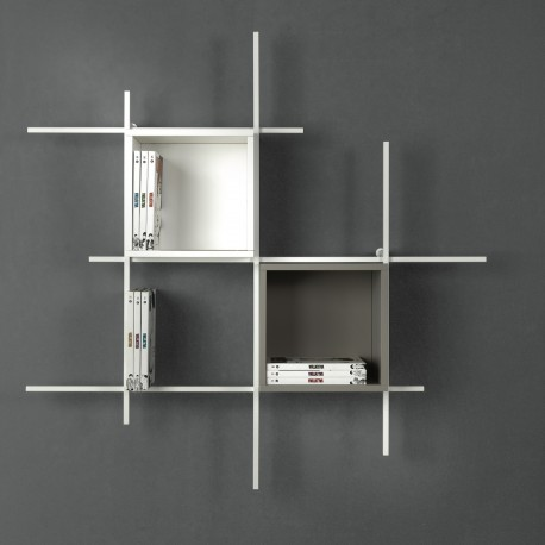 Libreria Libra comp-31 sospesa a muro in acciaio design moderna