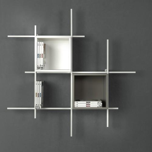 Libreria sospesa a muro in acciaio design Libra comp-31