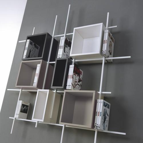 Libreria Libra comp-32 da parete sospesa in acciaio design moderno