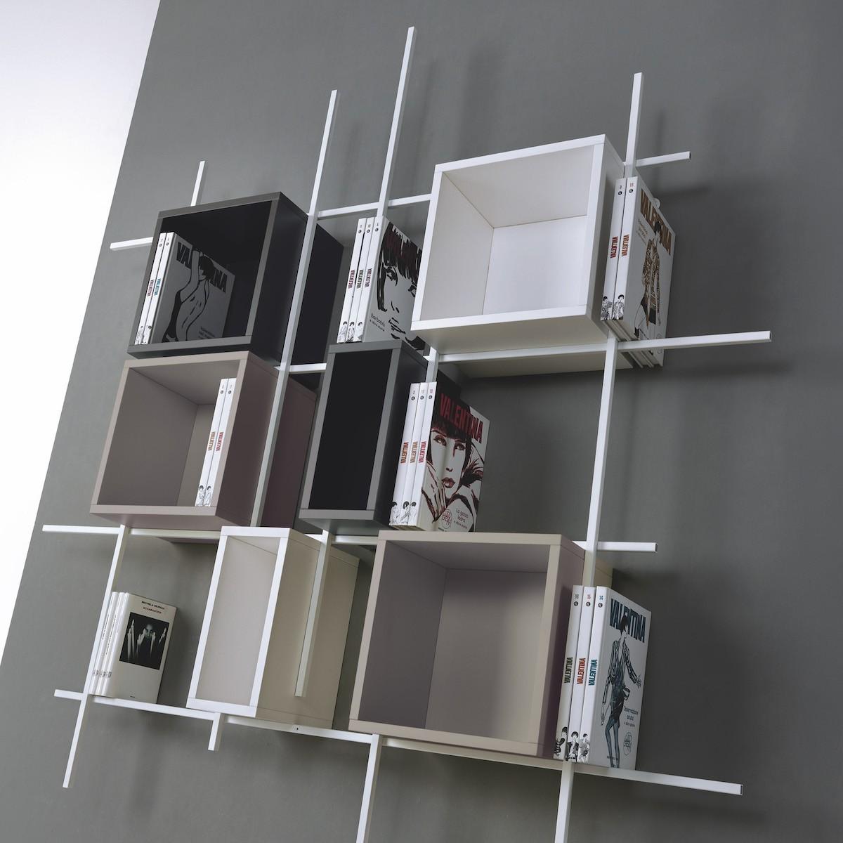 Libreria libra comp 32 da parete sospesa in acciaio design - Libreria a parete sospesa ...