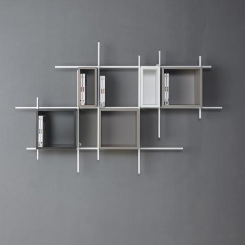 Libreria da parete sospesa in metallo design moderno Libra comp-35