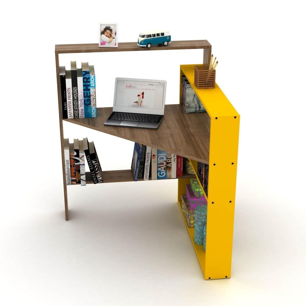 Scrivania Libreria Per Computer.Libreria Angolare Con Scrivania Porta Pc Salvaspazio Geometry