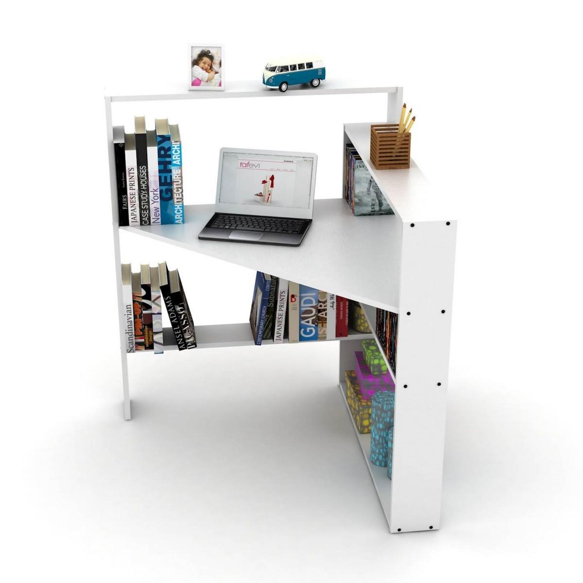 Libreria angolare con scrivania porta pc salvaspazio geometry for Scrivania con libreria ikea
