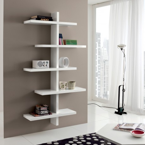 Libreria Moderna Laccata Bianca.Libreria A Muro Garnette Design Moderno