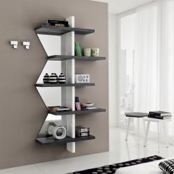 Libreria a muro bianco nero con specchi Garnette2