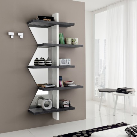 Libreria a muro bianco nero Garnette2