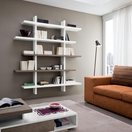Libreria a muro design moderno in legno Garnette3