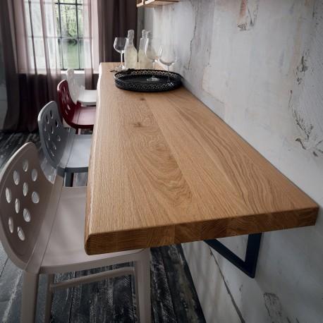 Mensola a parete in legno massello Elias 100 o 200 cm