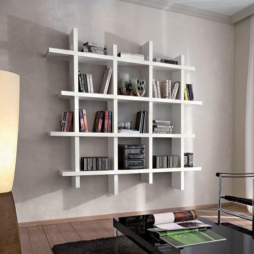 Libreria da parete componibile bianco opaco Gilmar
