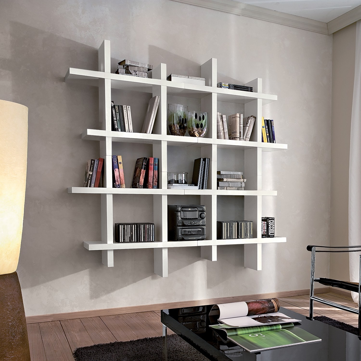 Libreria da parete componibile bianco lucido gilmar for Specchio da parete bianco lucido
