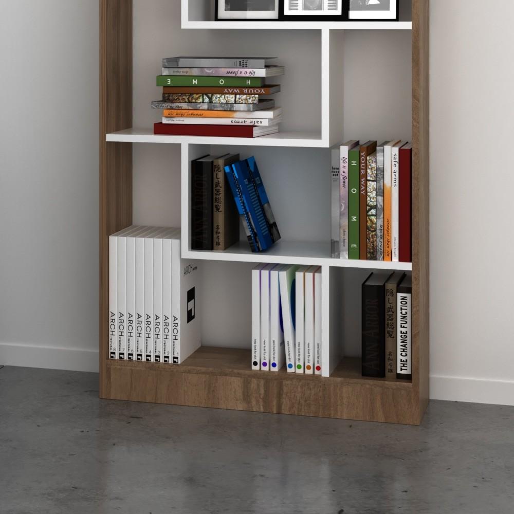 Libreria moderna per soggiorno noce e bianco Almira
