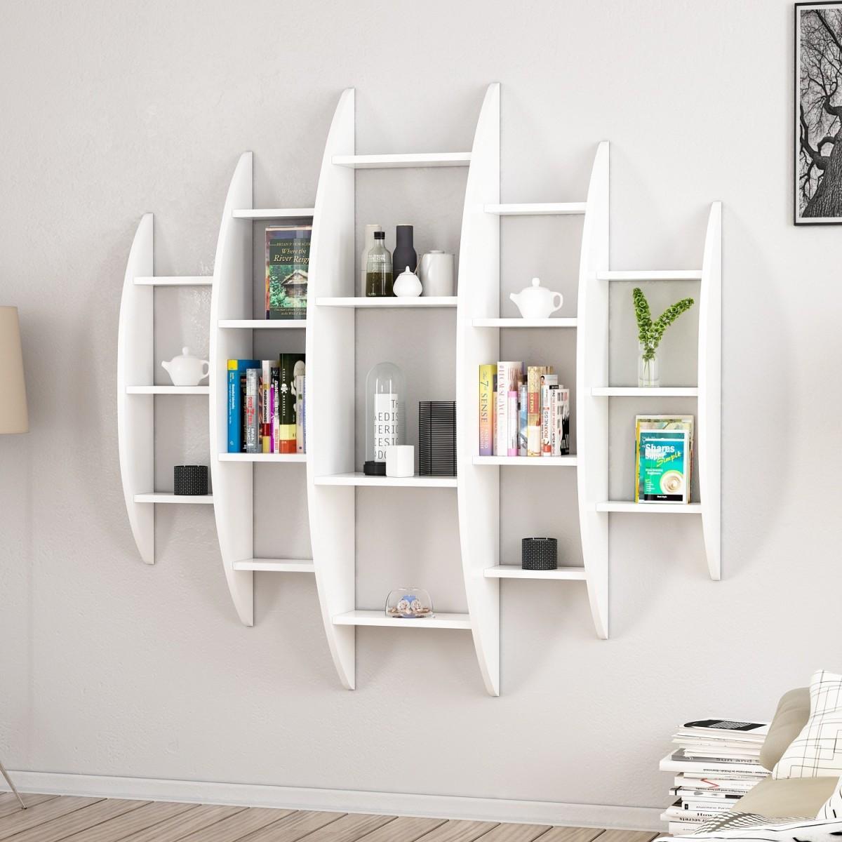 Libreria Rotonda Design Da Parete Bianca 140 X 140 Cm Sferik