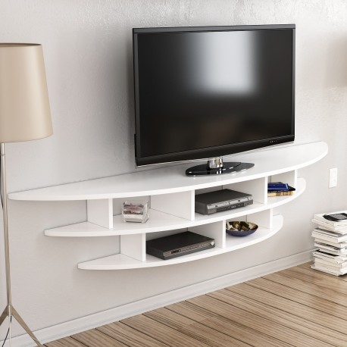 Libreria a giorno rotonda porta TV bianca Eklips