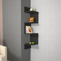 Mensola angolare moderna in pannelli di legno nero Twister