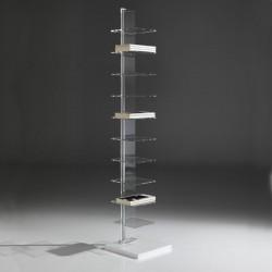 Libreria verticale autoportante in plexiglass e metallo cromato Rijeka