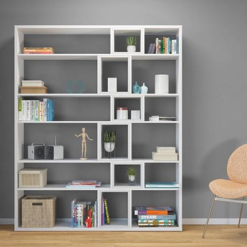 Libreria design moderno autoportante in legno bianco o naturale Coventry