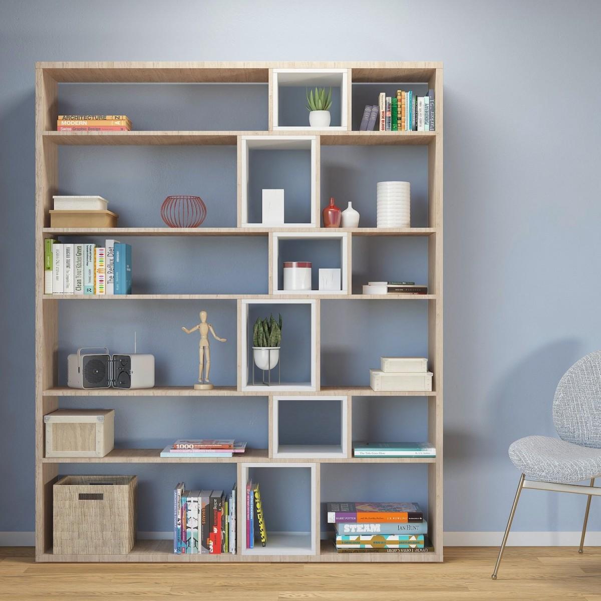 Libreria design moderno in legno bianco o naturale Coventry