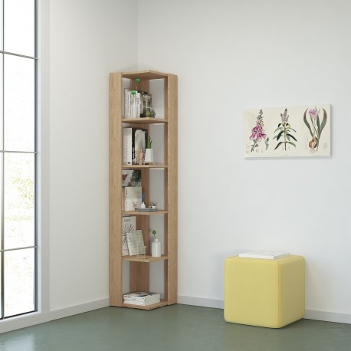 Libreria ad angolo in legno bianco o naturale Korner