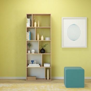 Libreria verticale da parete in legno bianco o naturale Mixing