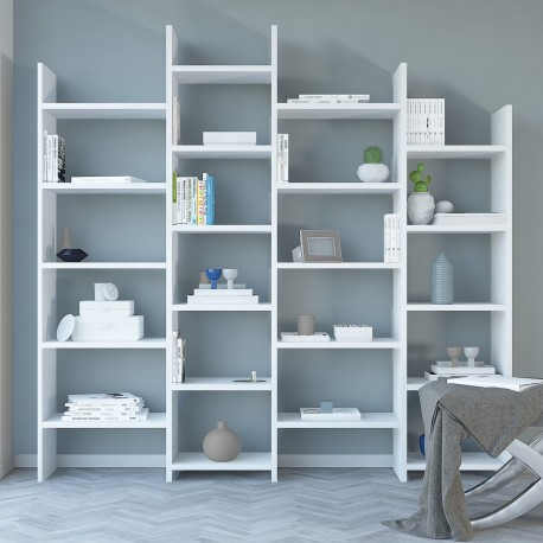 Libreria da parete per salotto bianco o naturale barry for Libreria salotto