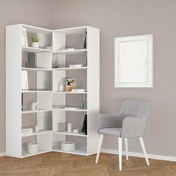 Libreria angolare design moderno in legno bianco o naturale Foldy