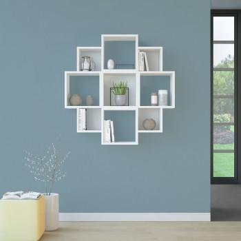 Libreria bianca moderna da parete in legno 90x90cm Margaret