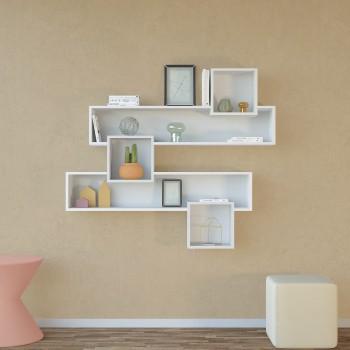 Libreria a parete sospesa in legno bianco o naturale Caledon