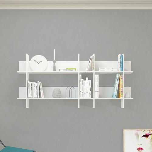 Libreria a parete design moderno 150 x 70 cm bianco o naturale Miyoko
