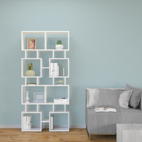 Libreria design separa ambienti in legno bianco Johnny