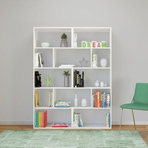 Libreria moderna autoportante in legno bianco o naturale Nikita