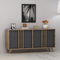 Madia moderna per cucina in legno antracite/noce Manning