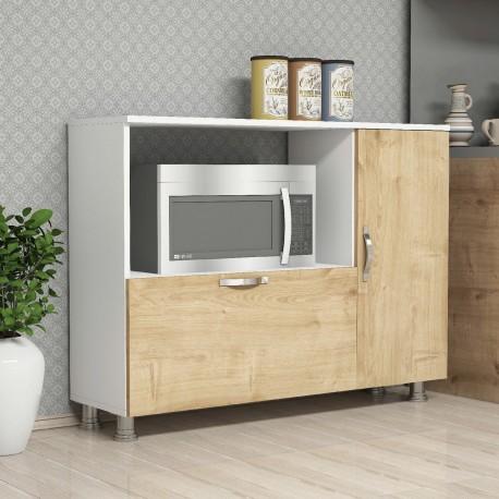 Mobiletto dispensa per cucina bianco/quercia Lionel