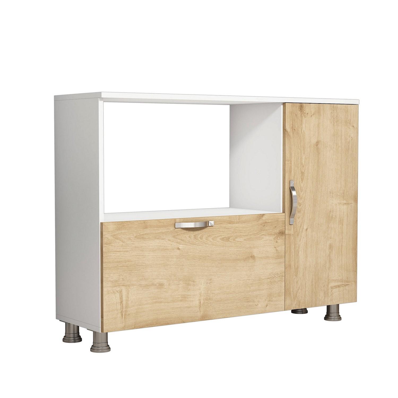 Mobiletto dispensa per cucina in legno bianco/quercia Lionel